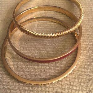 J.Crew set of three bangle bracelets gold & enamel